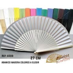 Abanicos de madera grandes de 27 cm en colores a elegir